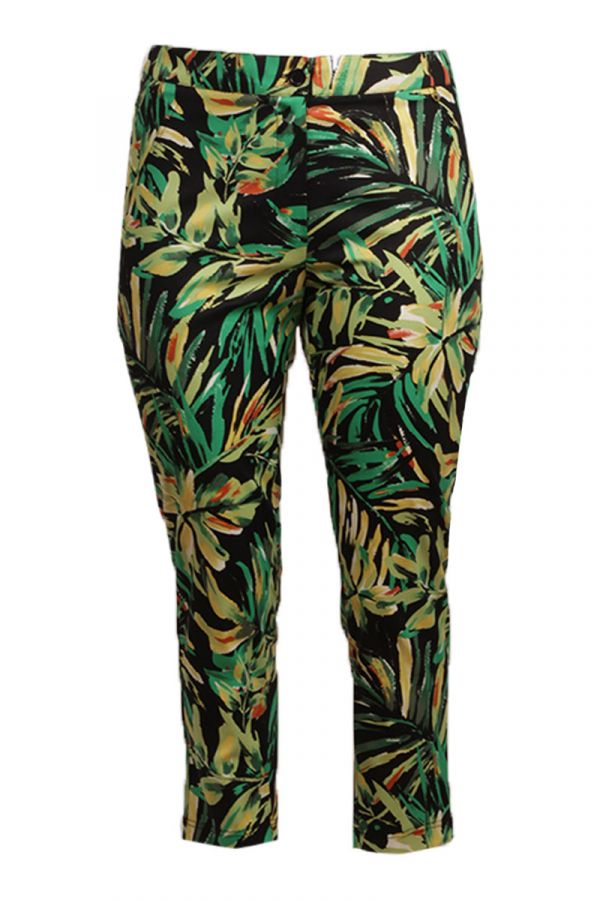 Leaf print 7/8 trousers in green colour