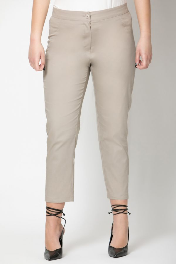 High-waisted cropped trousers in beige colour