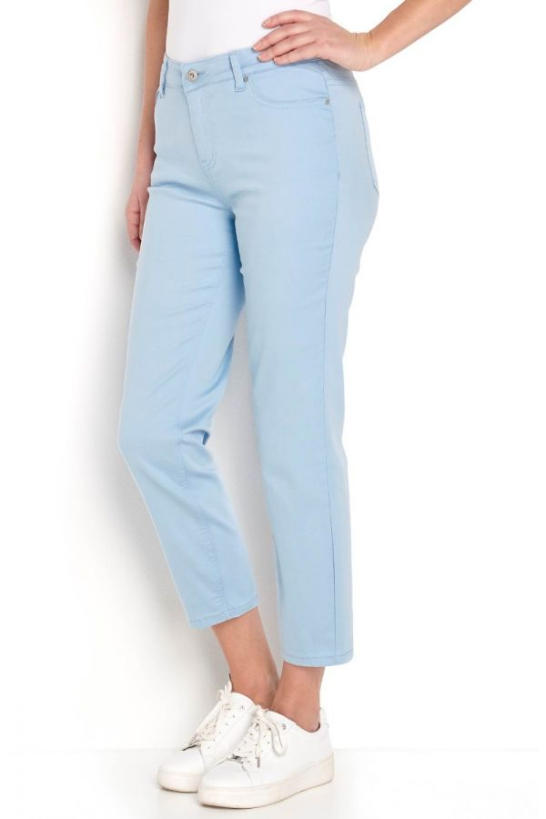 Straight leg twill trousers in light blue colour