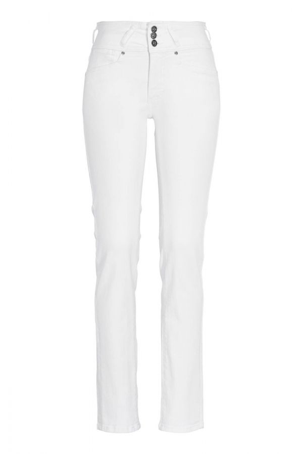 Straight leg jeans with buttons in denim white colour