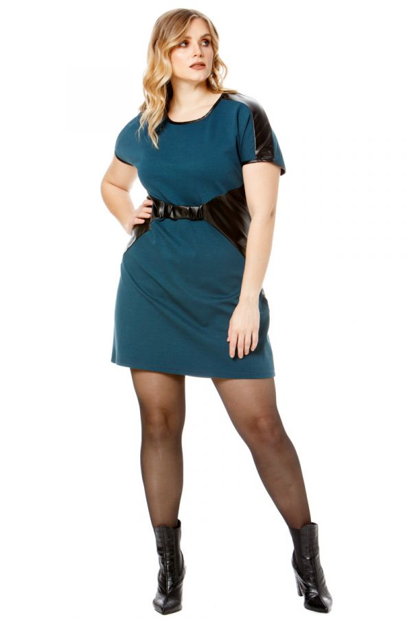 Mini short sleeve dress with leather-like details in petrol colour