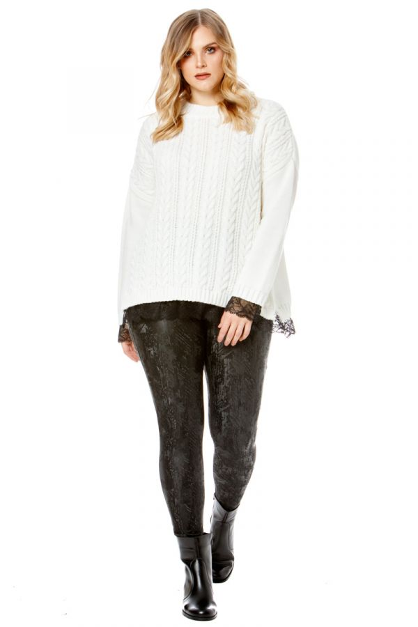 Knit jumper with lace details in ecru colour