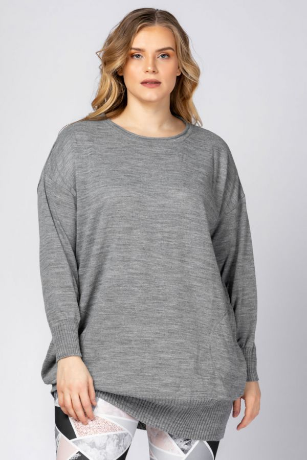 Loose fit knit jumper in grey colour