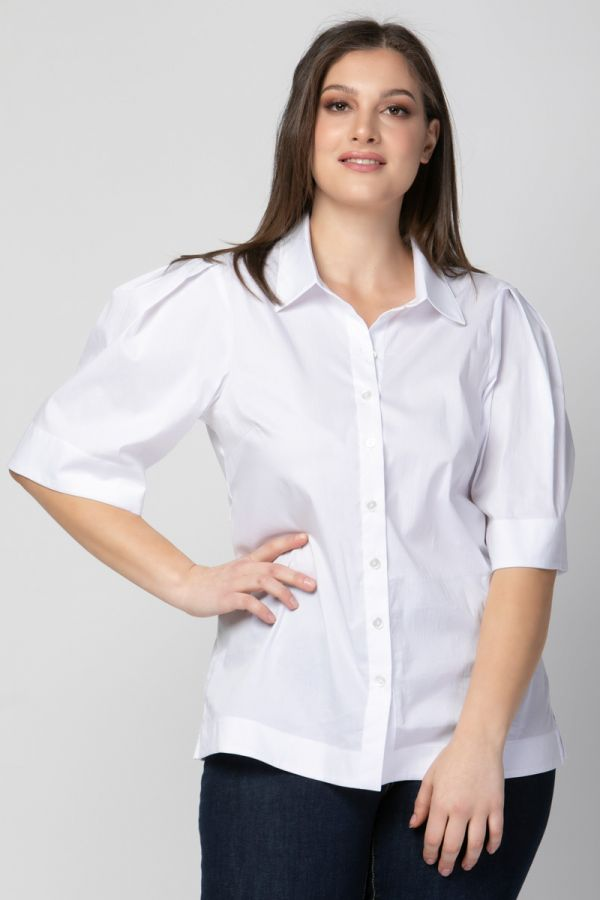 Poplin shirt with balloon pleated sleeves in white colour
