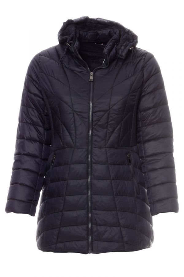 Hooded quilted puffer in blue colour