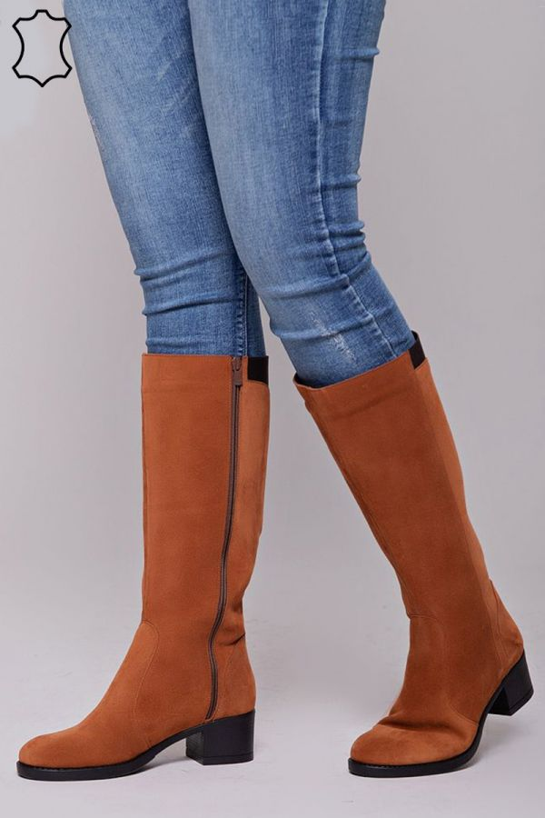Real leather wide calf boots with elasticated insert on the back in taba colour