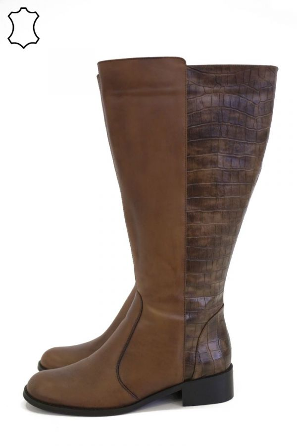 Mixed croc and leather boots in taba colour