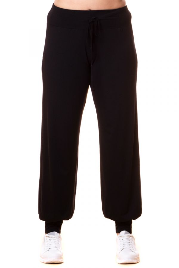 Light-weight cuffed leg joggers in black colour