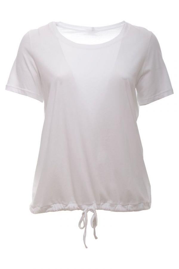 T-shirt with drawstring hem in white colour