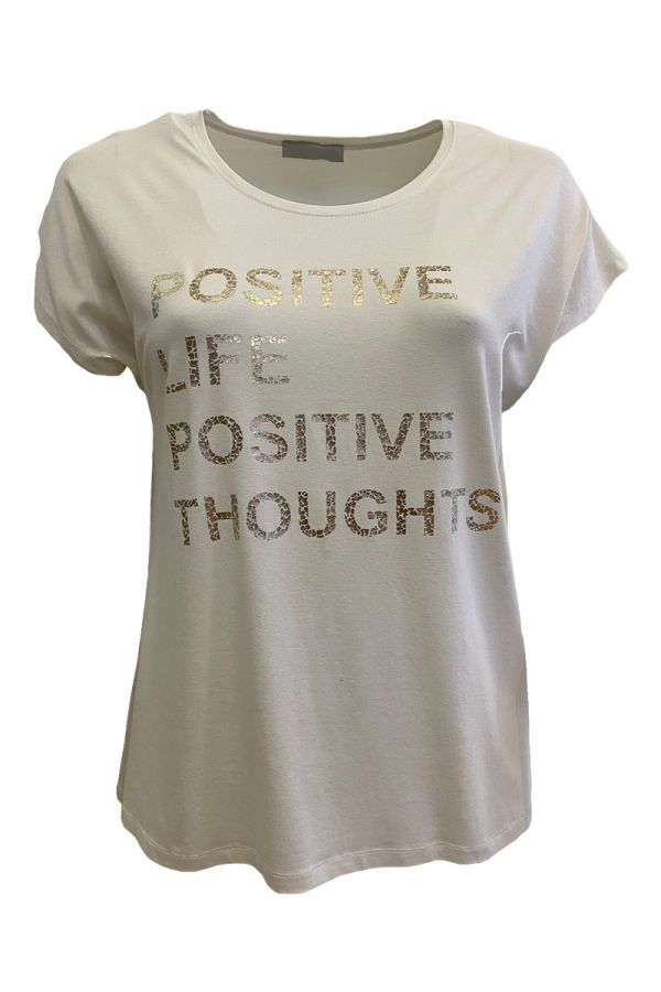 """T-shirt with """"Positive"""" print in ecru colour"""