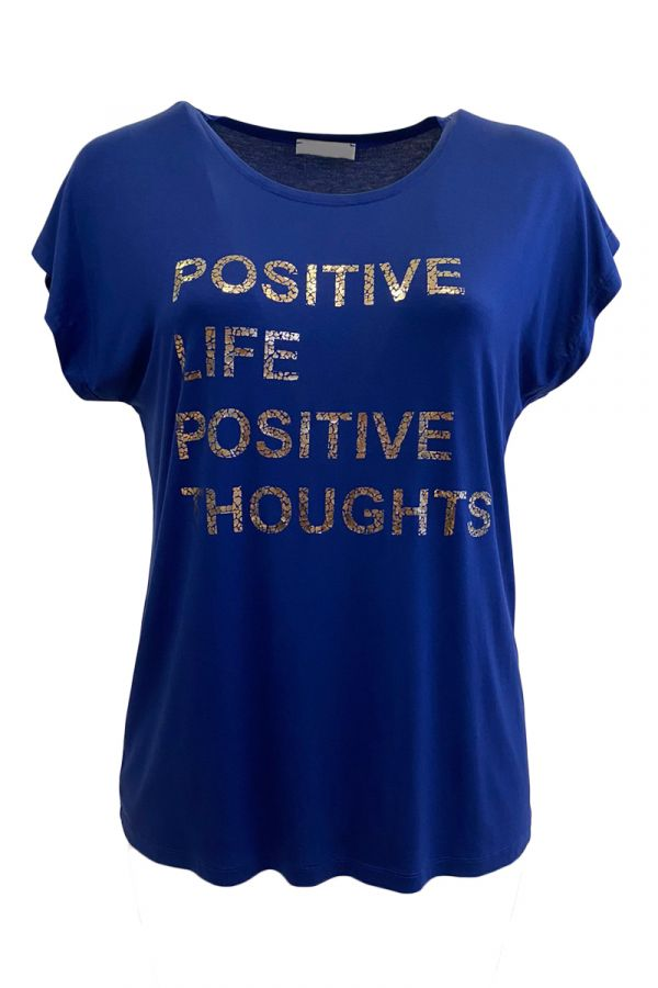 """T-shirt with """"Positive"""" print in blue colour"""