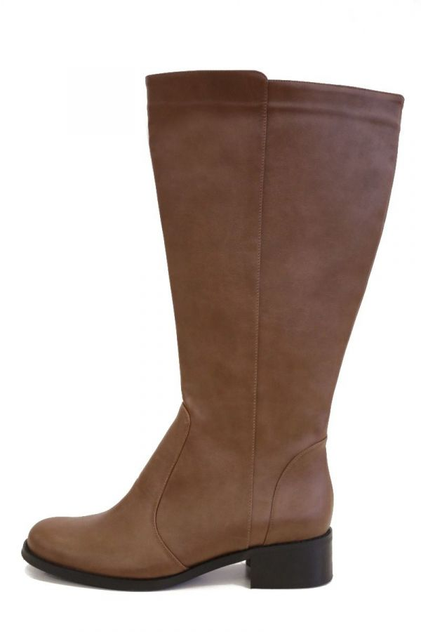 Wide calf knee-high boots with elasticated inserts in taba colour