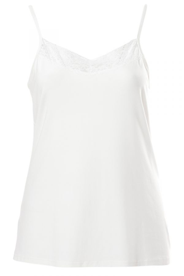 Light-weight cami top with lace detail in ecru colour