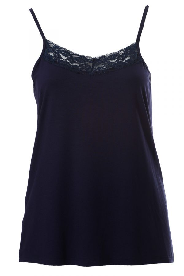 Light-weight cami top with lace detail in blue colour