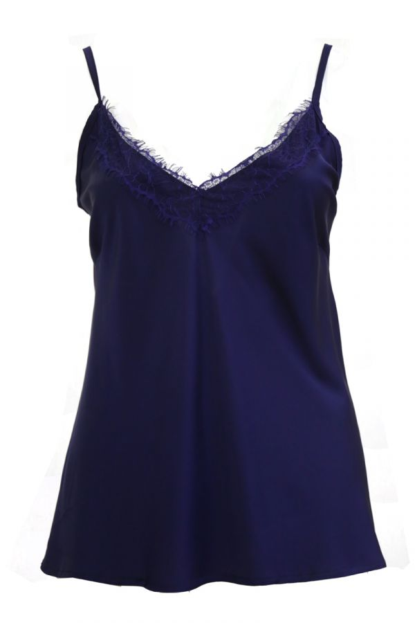 Satin cami top with lace detail in navy colour