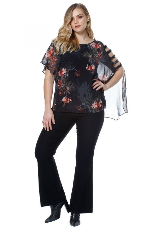 Floral tunic with cut-out sleeve in black colour