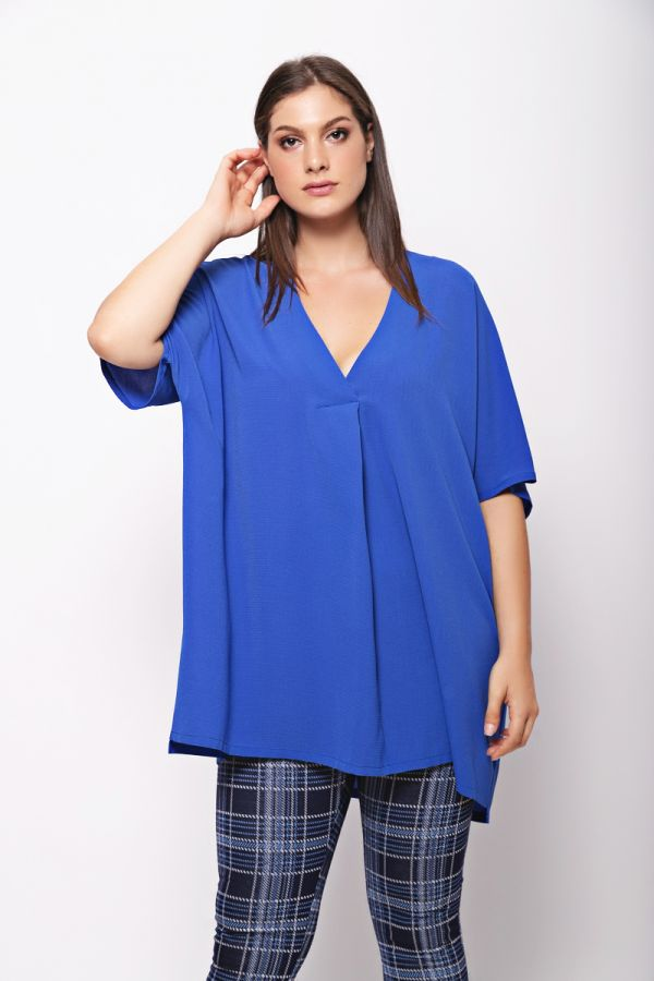 Tunic with box pleat in royal blue colour