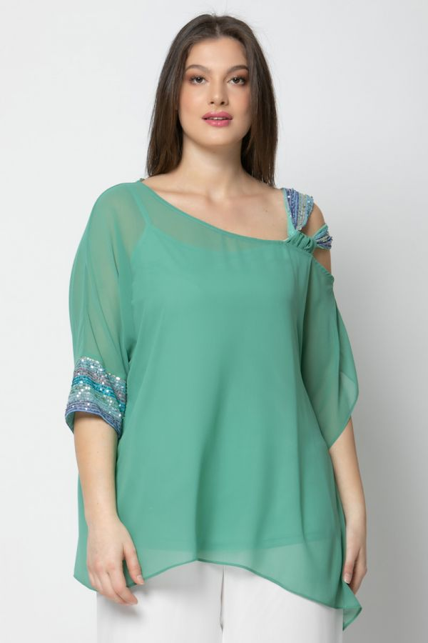 Tunic with sequin embellished details in veraman colour