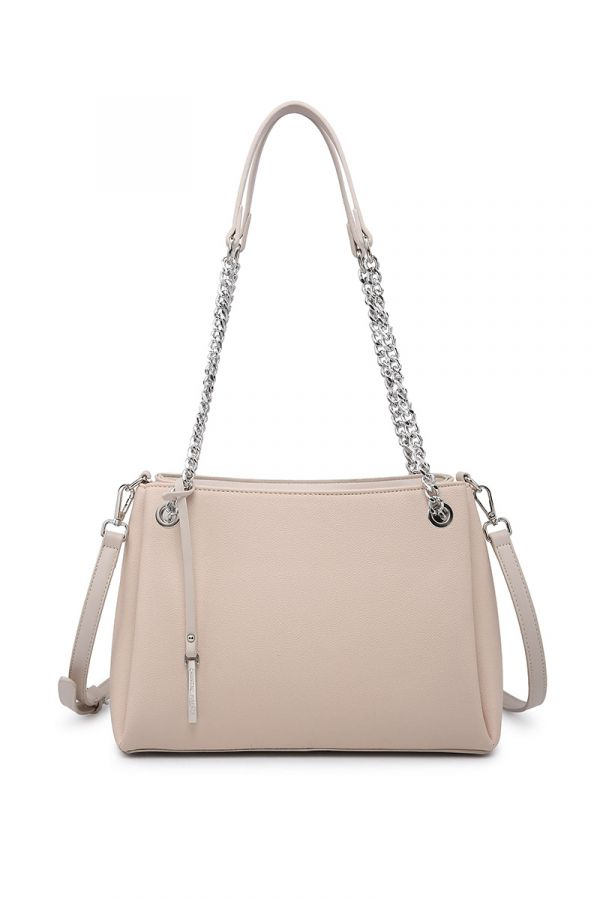 Bag with chain strap in powder pink colour