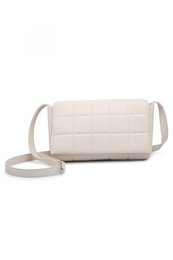 Crossbody quilted bag in ecru colour