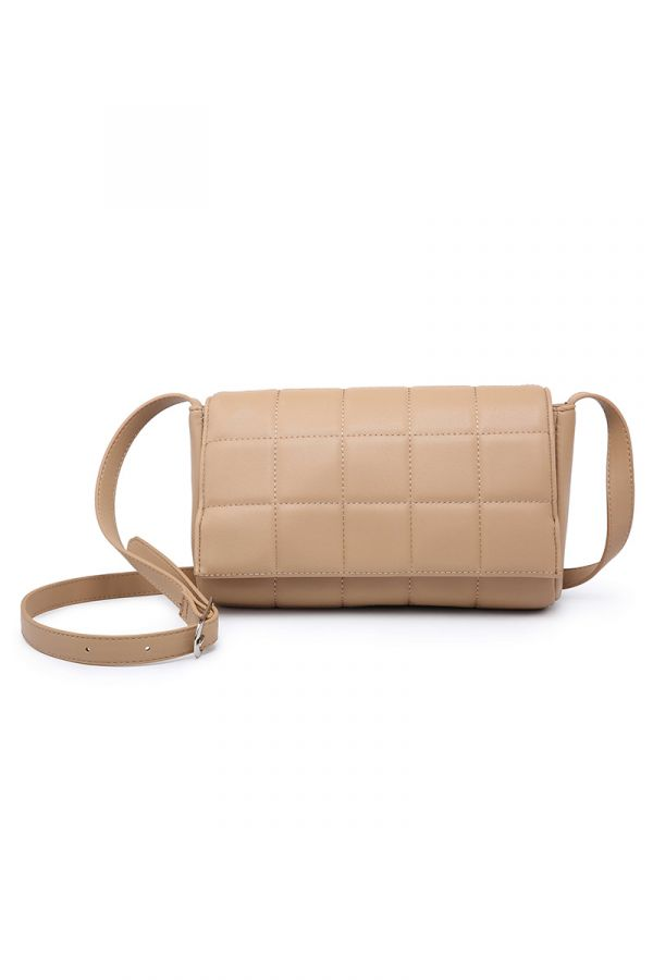 Crossbody quilted bag in beige colour