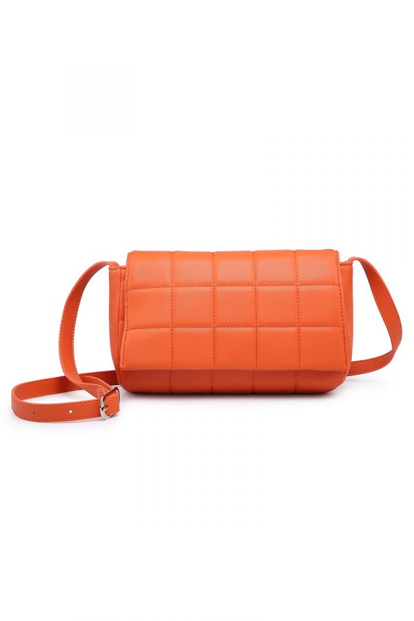 Crossbody quilted bag in orange colour