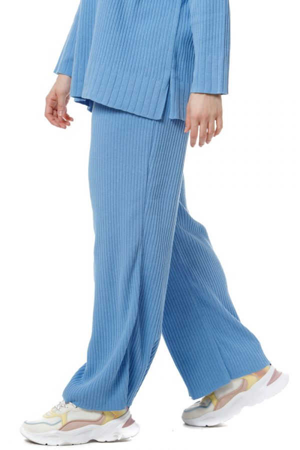 Cotton wide leg knit rib trousers in indigo colour