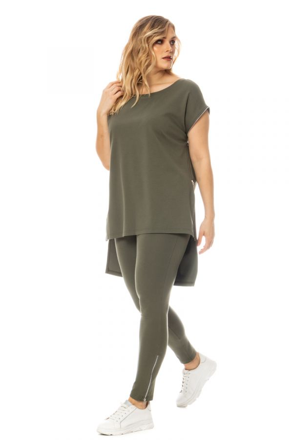High-rise leggings with zippers in khaki colour