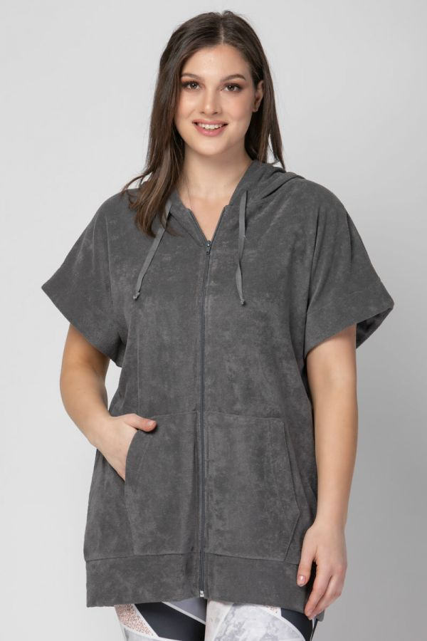 Terry towelling short sleeve track top in grey colour