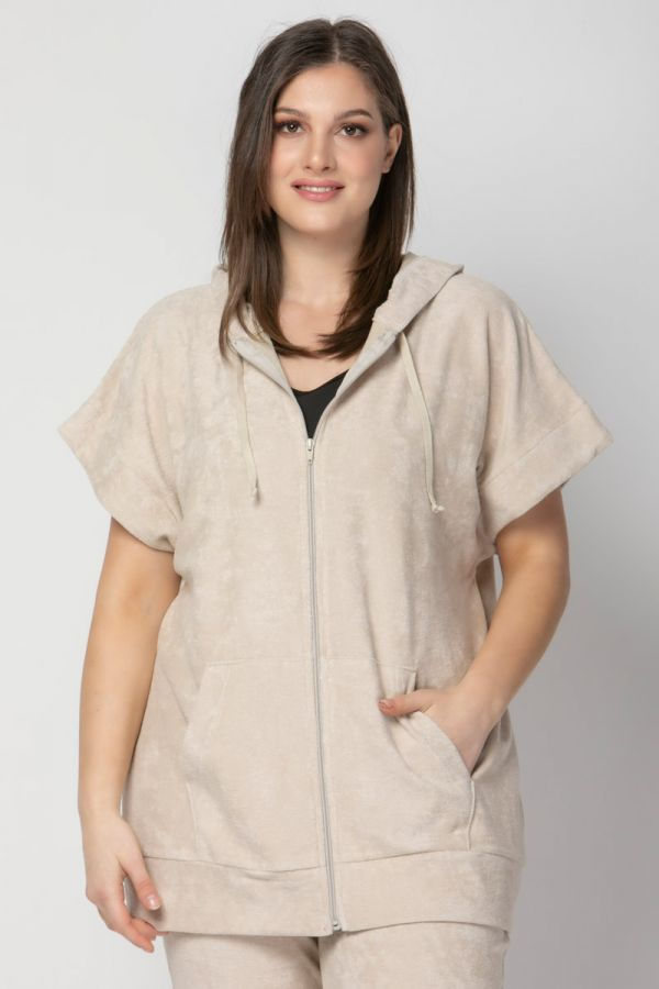 Terry towelling short sleeve track top in beige colour