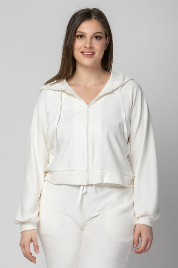 Terry towelling hooded track top in ecru colour