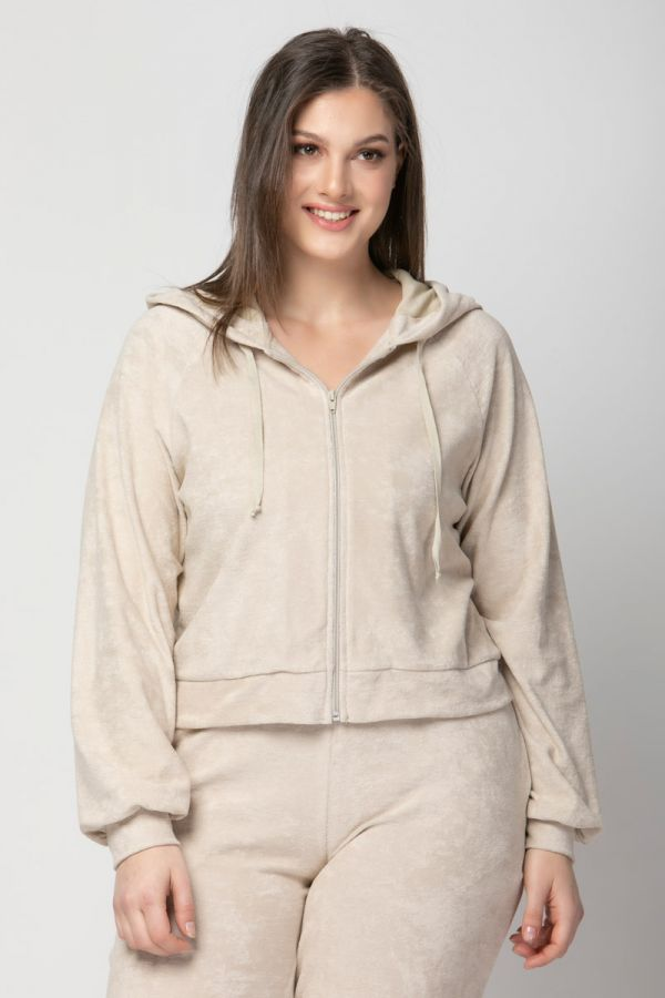 Terry towelling hooded track top in beige colour