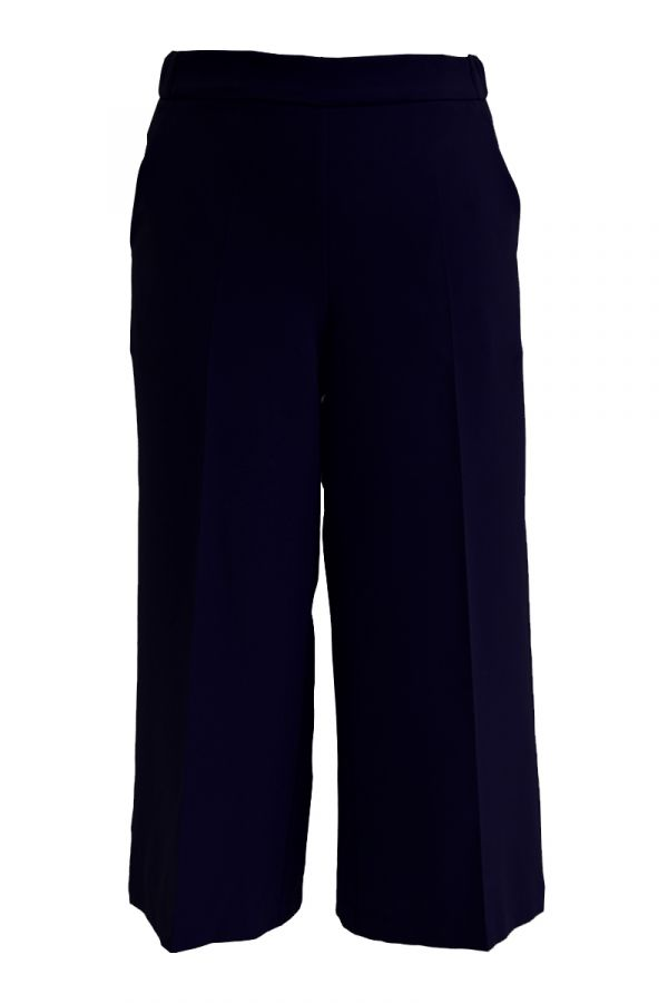 High-waisted culotte trousers in blue colour