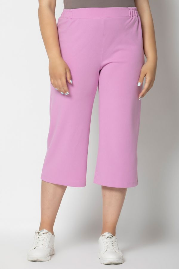 Scuba high-waisted culotte trousers in lilac colour
