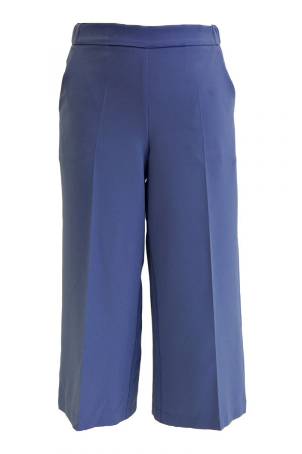 High-waisted culotte trousers in light blue colour
